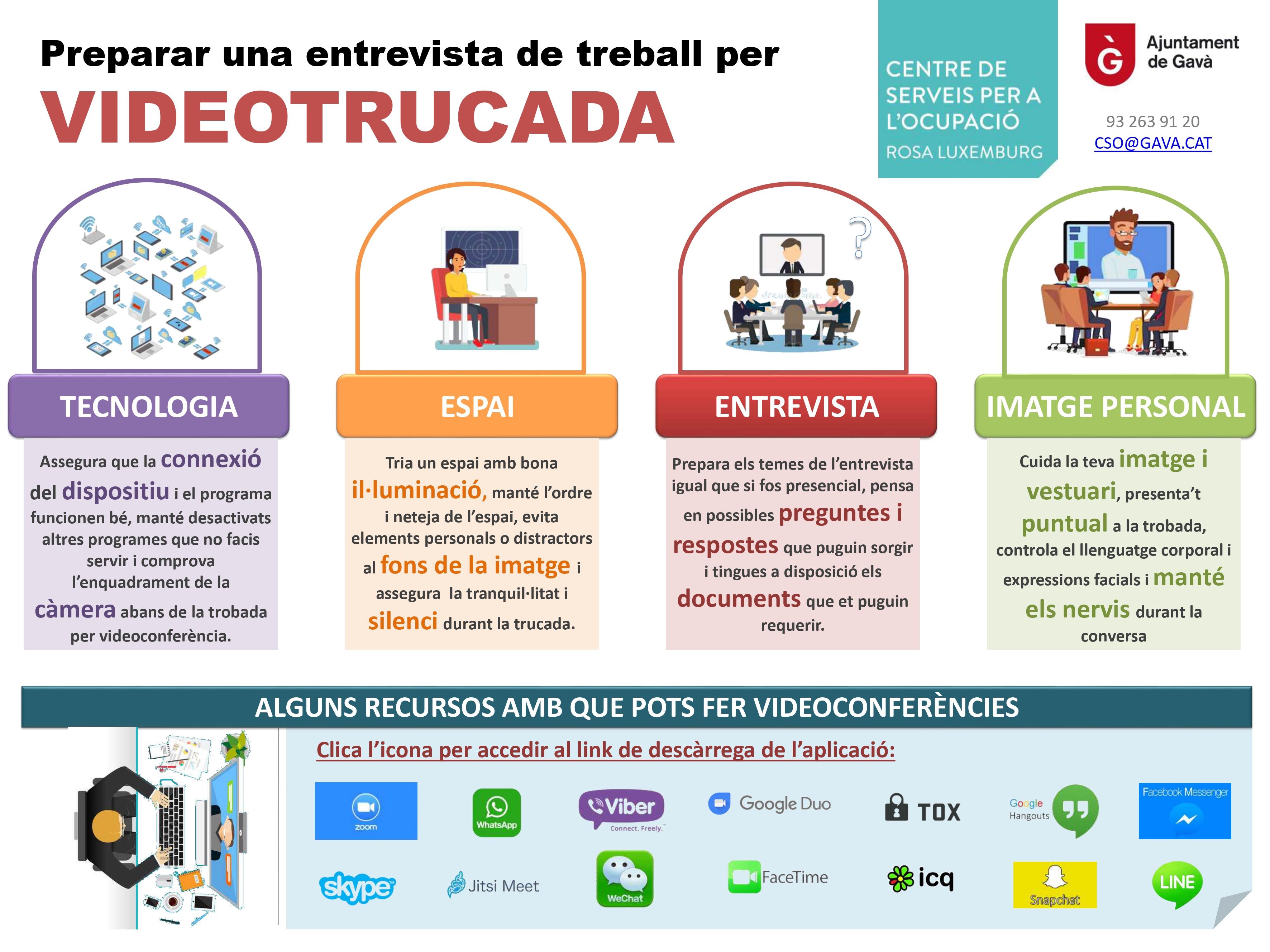 Infografia sobre consells i recursos per fer entrevistes de feina per videotrucada. Ajuntament de Gavà.