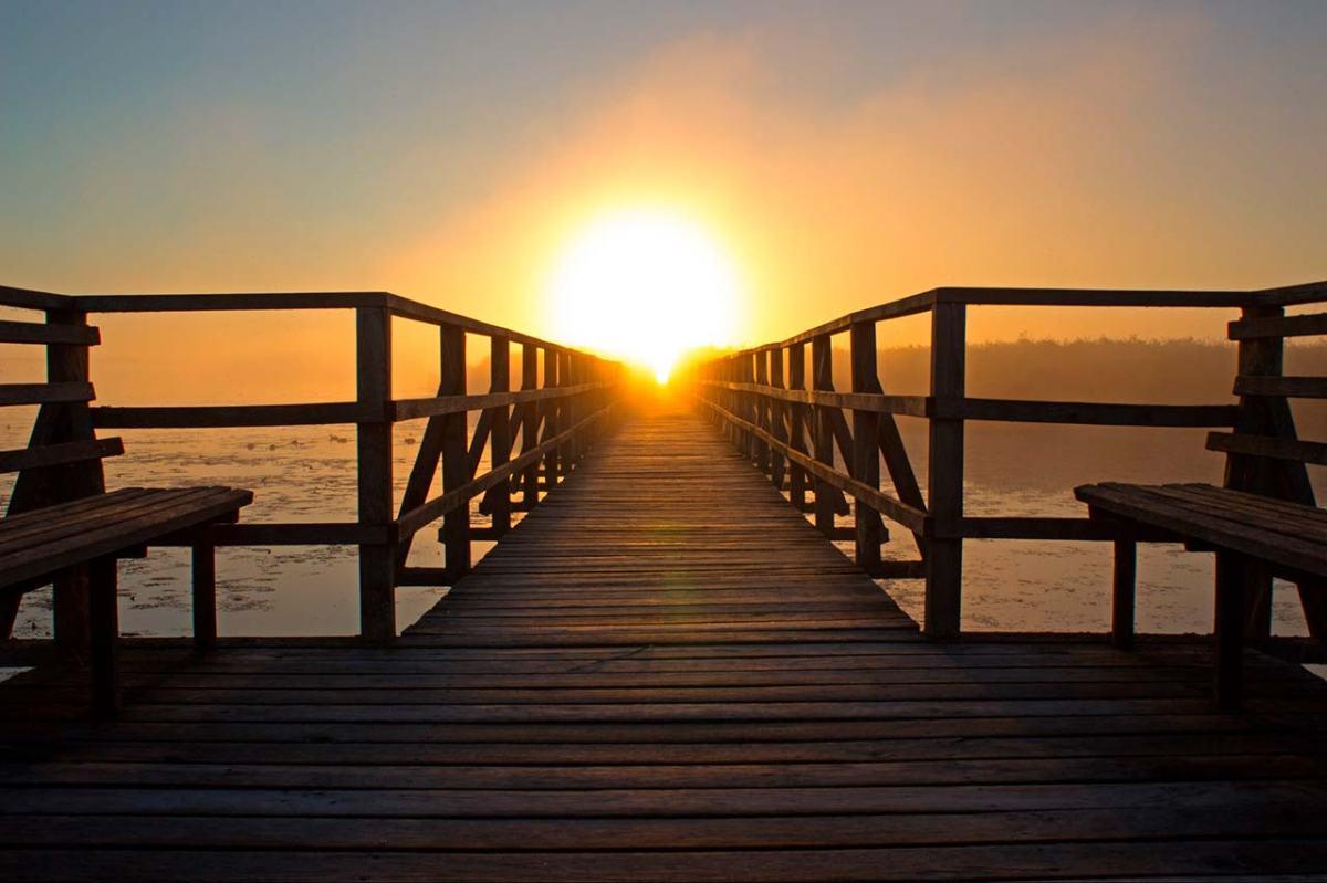 Un pont de fusta que va cap a l'horitzó, en direcció al sol naixent.
